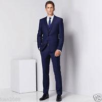 Men's Tailored Navy Blue 3 Piece Slim Fit Regular Formal Business Wedding Suit