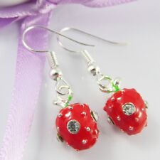 Enamel & Rhinestone Strawberry Charm Hook Earrings 33mm