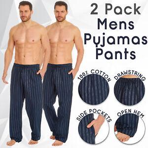 2 Pack Mens Pyjama Bottoms Pajama Pants Lounge PJ Trousers Loungewear Navy S-XXL