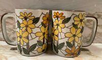 Pair of 2 VINTAGE Ironstone Coffee Mugs Cups. Yellow Brown Flowers