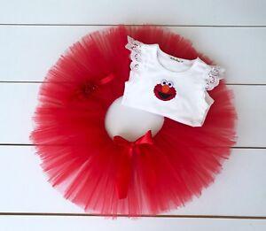 Elmo Cake Smash Outfit - First Birthday Set - Sesame Street - Baby Girl