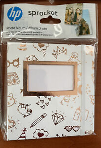 New HP Sprocket 2x3 Photo Album Gold & White