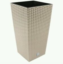 2 x BEIGE FLOWER POT  32.5 CM HIGH + INTERNAL LINER POTS PLANTER RATTAN GARDEN