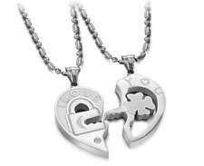 Love Couple Necklaces stainless steel silver Four-leaf clover key puzzle Pendant
