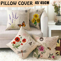 Fashion Flower Waist Throw Pillow Case Sofa Cushion Cover Home Decor 45X45CM