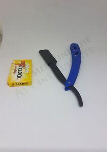 Rasiermesser inkl. 1 Packungen(5stk) Rasierklingen Rasierer Barbier Razor BLAU