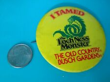 Vintage Busch Gardens Old Country Loch Ness Monster Button Pinback