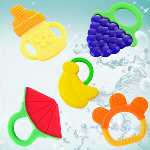 Silicone Bendable fruit Teether ring Baby Training Toothbrush Infant Toddler