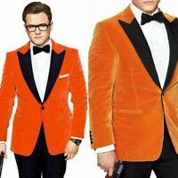 Men Orange Velvet Prom Dinner Tuxedos Wedding Groom Formal Suits Black Lapel