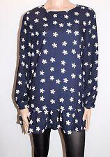 Unbranded Designer Navy Daisy Flower Print Long Sleeve Top Size XL BNWT #TF81