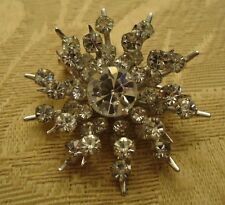 Vintage CORO Clear Rhinestone Snowflake Design Brooch - Such Sparkle!!