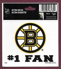 "Boston Bruins #1 Fan Static Cling Decal Wincraft 3 1/2"" x 3 3/4"""
