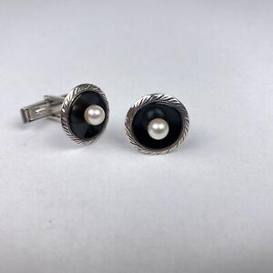 Vintage Set Sterling Silver Black Onyx & Pearl Men's Cufflinks 442902-86 Pair
