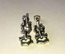 Earrings, May Be Mexican Vintage Sterling Silver Pierced