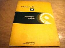 John Deere 312 Hydrostatic Garden Tractor Operator's Manual Jd - Original Oem