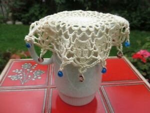 8.5 inches HAND CROCHET GLASS BEADED JUG/GLASS/BOWL/FOOD COVER