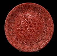Vintage Chinese Cinnabar BOWL Red Carved Lacquer Qianlong 8 Auspicious Symbols