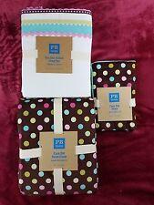 Pottery Barn PB Teen Coco Dot Twin Duvet Sham & Bon Bon Ribbon XL Twin Sheet Set