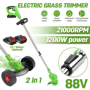 1200W Electric Weed Eater Lawn Edger Cordless Grass String Trimmer Cutter 88V