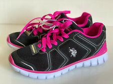 NEW U.S. US POLO ASSN. USPA BLACK PINK SILVER RUNNING TRAINING SHOES 7.5 38 SALE