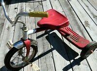 "Vintage Roadmaster Red Tricycle - Single Deck 12"" Wheel Road Master All Original"