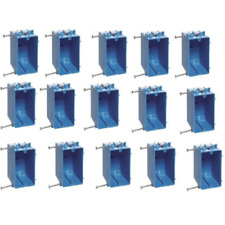"""15 Pack 18"""" 1-Gang Single Wall Outlet / Switch Electrical Box Plastic Interior"""