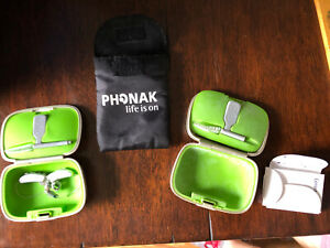Pair of Phonak Audeo V70 312 Hearing AIDS Box/case Bag + Extras