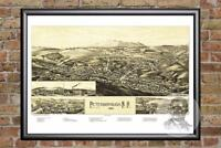 Vintage Peterborough, NH Map 1886 - Historic New Hampshire Art - Old Industrial