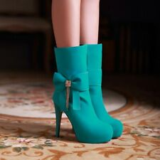 Women's Suede Fabric High Heel Side Zip Round Toe Candy Ankle Boots Solid Color