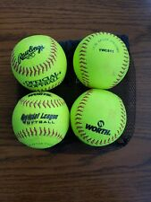 Set Of 4 Worth & Rawlings Softballs Ywcs11 Bbrw1002 Official Soft Balls Used