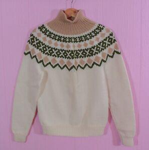 VTG 70s Oatmeal Olive Fair Isle Mock Neck Hand Knit Prep Chic Dress Sweater XS/S