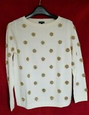 NWOT Talbots Sz MP Medium Petite Ivory Gold Dot Sweater