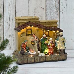 Light Up Nativity Scene Traditional Christmas Decoration 12 LEDs Resin 29cm