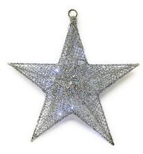 Bright Silver decoration Xmas 3 d wire Star 33 cm free 20 micro LED lights