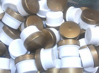 50 tiny WHITE Jars 1/4 oz Containers DecoJars 1 tsp #3301 Gold Screw Lids Caps