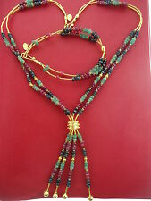 14K Yellow Gold  Ruby, Sapphire Emerald Necklace Bracelet Set