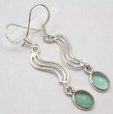 "925 SOLID Silver Beautiful GREEN APATITE ASTONISHING Earrings 1.9"" BRAND NEW"