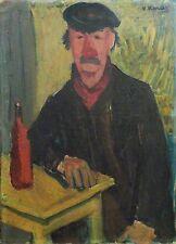 Vincent Korda portrait d'homme Huile sur toile Hongrois Salon  Indépendants