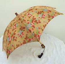 Vintage 1930's Art Deco Beach Parasol - Flower Floral Fabric & Celluloid Handle