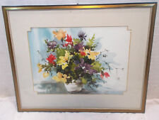 Aquarell Debbie Hearle Watercolor Bouquet Nr.1337 gerahmt 80er Hearle Galery `85