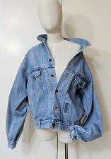 Vintage 80s Greyhound Denim Jacket Sz XL (Fit 12 - 16) Oversized Batwing Retro