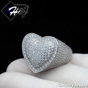 MEN WOMEN 925 STERLING SILVER ICY BLING DIAMOND 3D HEART SHAPE RING*SR125