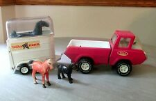 Vintage PINK Steel Tonka Stables Jeep Pickup Truck and Horse Trailer with Horses