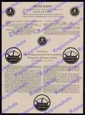 Publicité Trans Radio debeg Funk télégrammes convertissent télécommunications Reichspost 1925