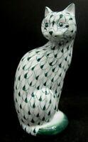 """VTG Andrea Sadek Cat Figurine Hand Painted Porcelain Green White Fishnet 7 1/2"""""""