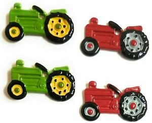JHB Int 2 Farmer Tractor Metal Shank Buttons Green or Red 26mm Sewing Crafts DIY