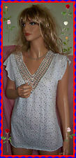 M L White Crochet V Silver Sequin Bling BANABEE Woman Pullover Knit Tunic Top