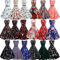 2018 Women's 50s 60s Vintage Rockabilly Pinup Swing Floral Cocktail Party Dress