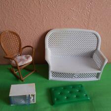 Sindy doll vintage 80s mobili giocattolo bianco divano a microonde marrone sedia a dondolo
