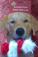 """Santa Claus""""Collar""""Go ld Jingle Bell Red Velvet White Faux Fur Dog Cat Christmas"""